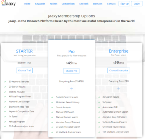 Jaaxy Membership Options Chart