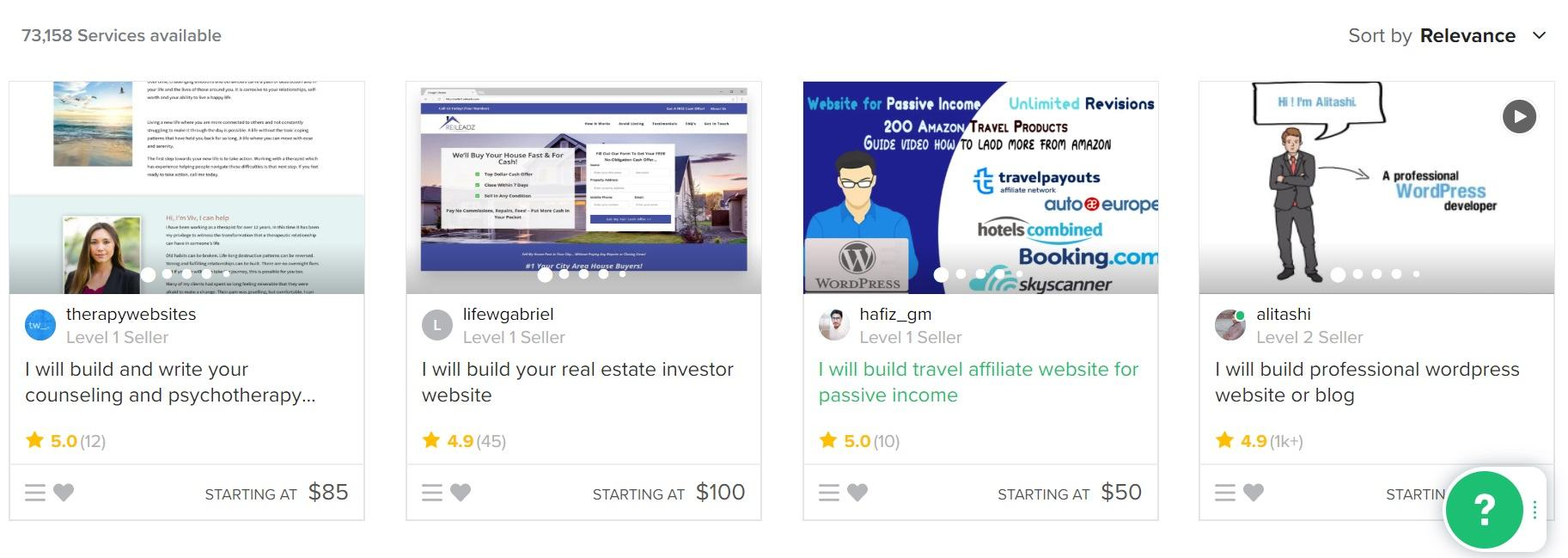 Fiverr Screenshot Build a Website