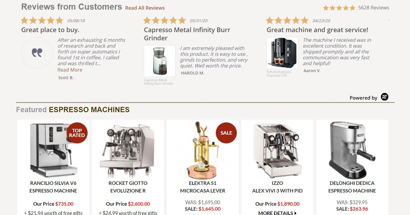 1st in Coffee Reviews and Espresso Machines