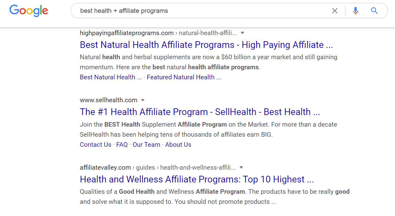 Best Healthy Affiliate Programs - Google Search