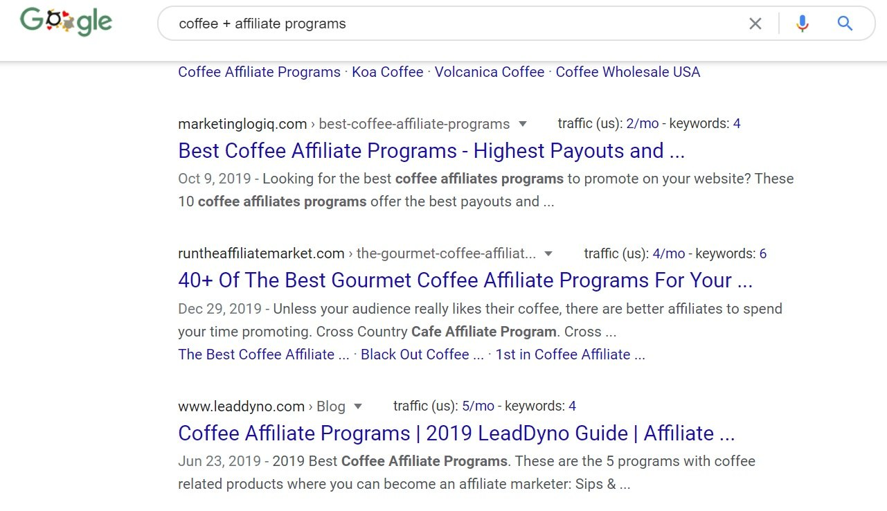 Coffee Affiliate Programs Google Search