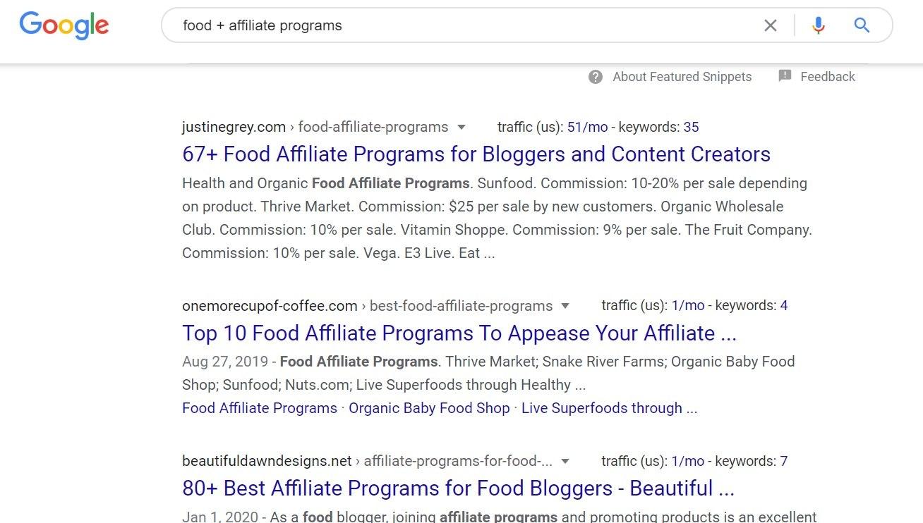 Food Affiliate Programs Google Search