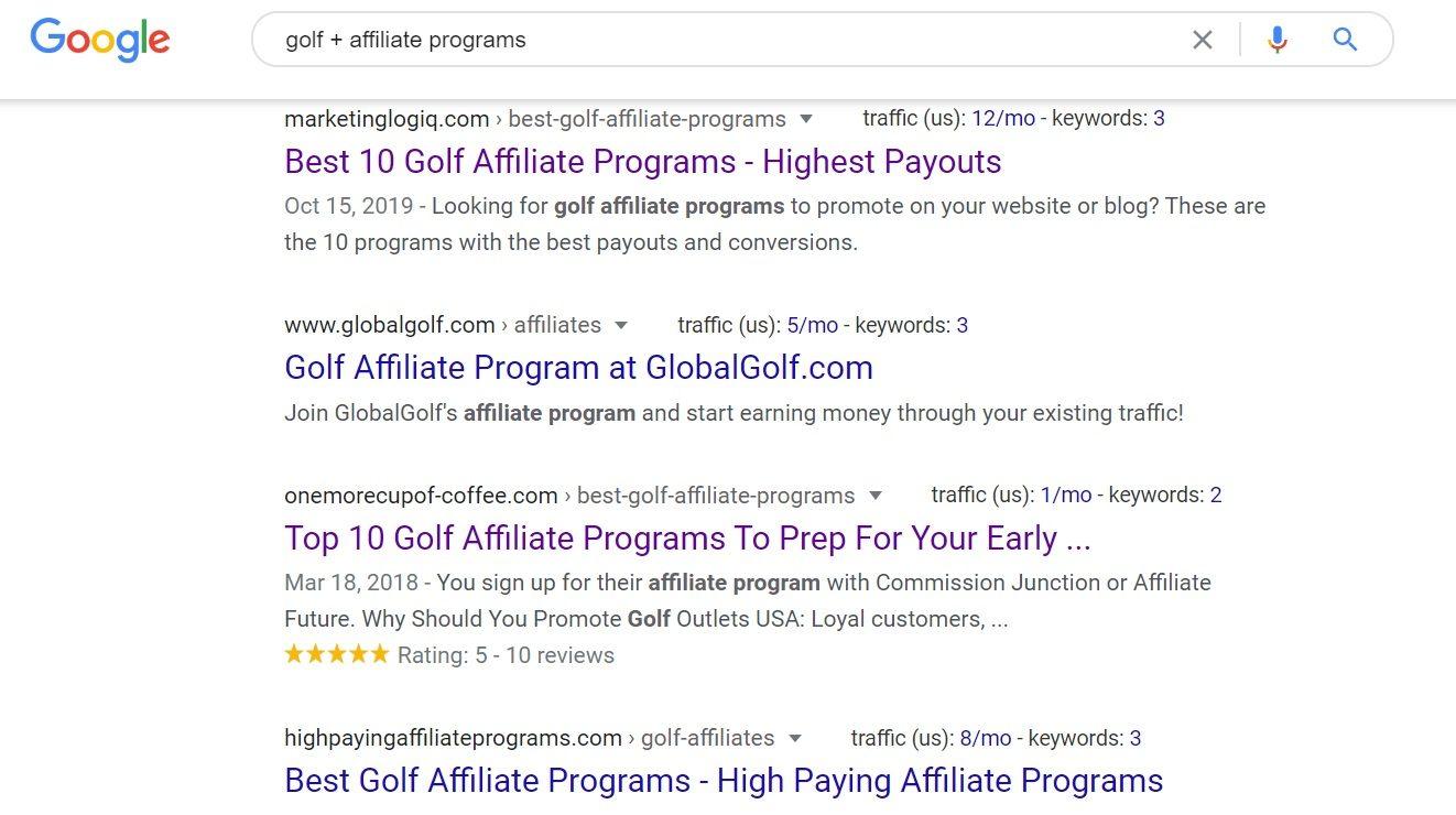 Golf Affiliate Progams Google Search