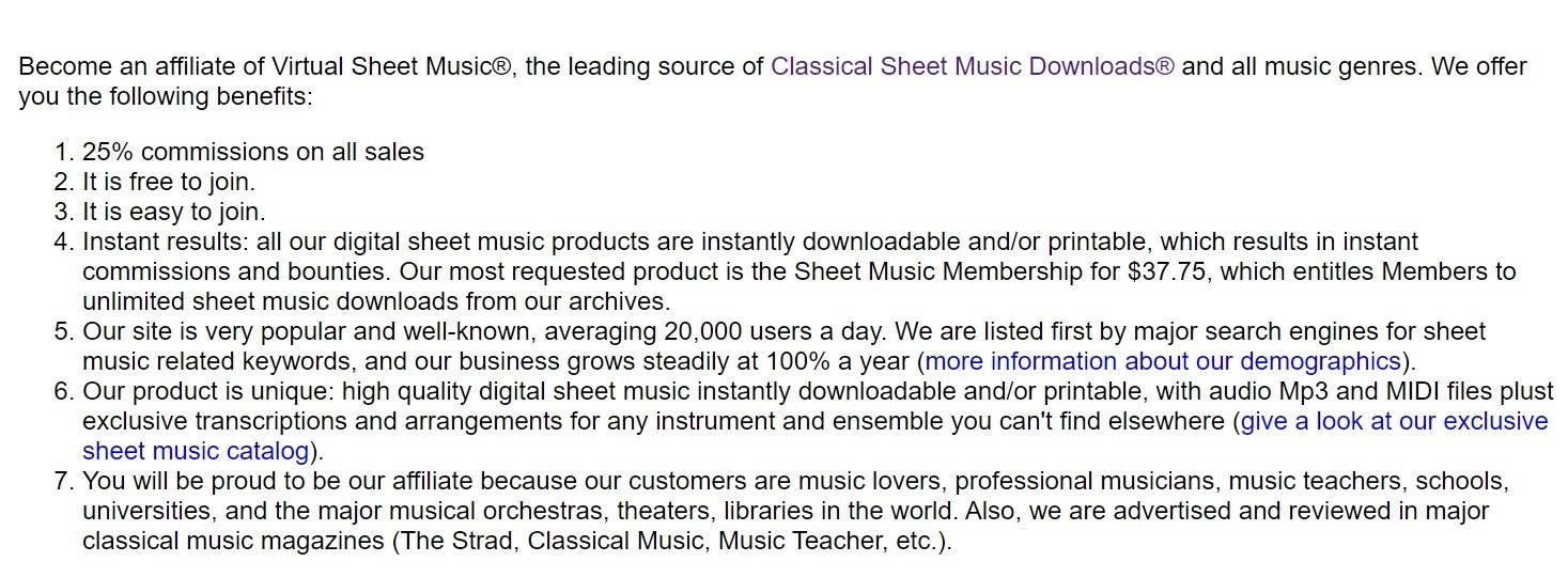 Virtual Sheet Music Affiliate Program