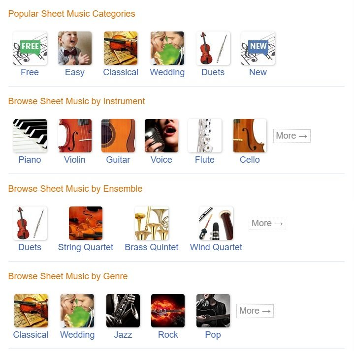 Virtual Sheet Music - Popular Categories