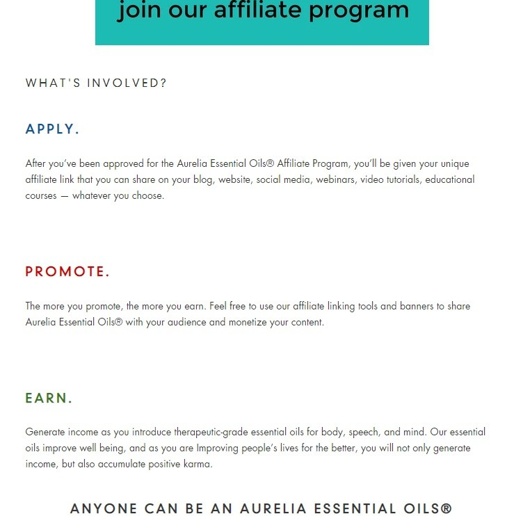 Aurelia Essential Oils Affiliate Program