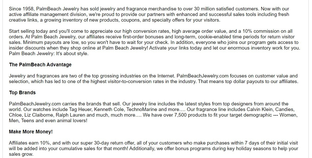 Palm Beach Jewelry Affiliate Program
