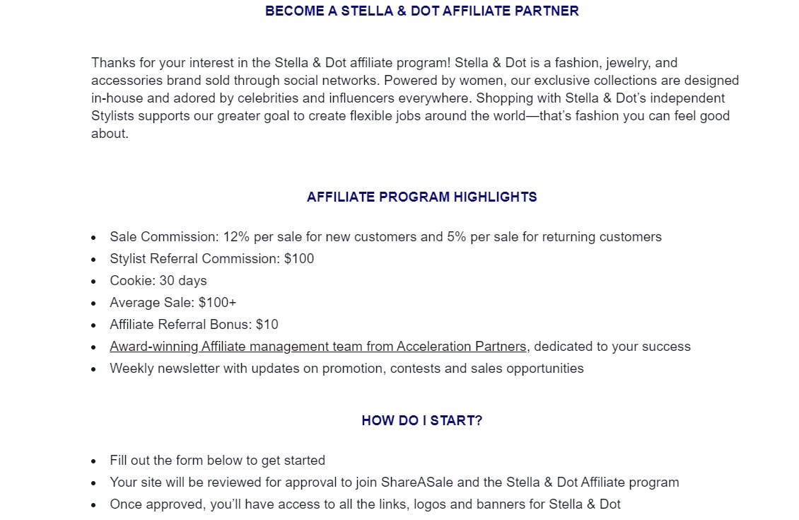 Stella and Dot Jewelry Affiliate Program