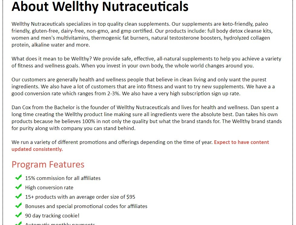 Wellthy Nutraceuticals Affiliate Program