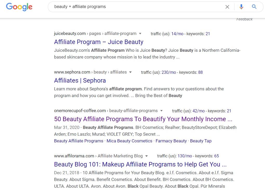Beauty Affiliate Programs - Google Search