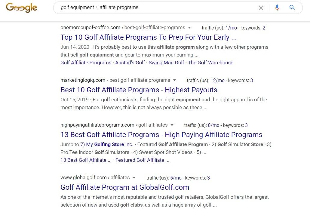 Golf Equipment Affiliate Programs - Google Search