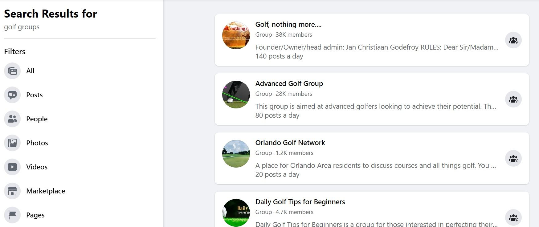 Golf Facebook Groups