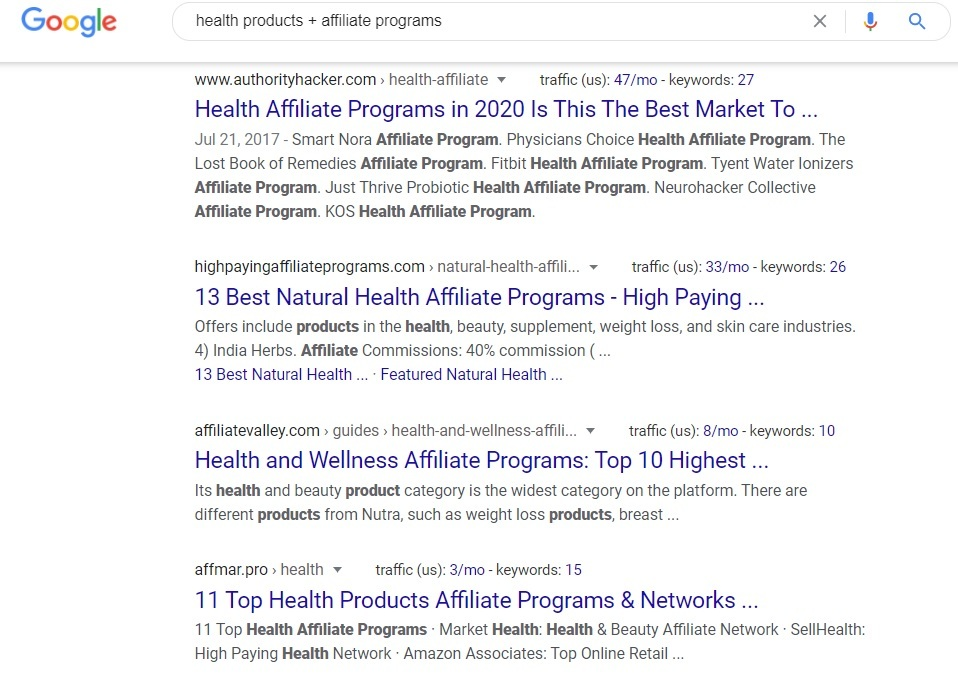 Health Products Affiliate Programs - Google Search