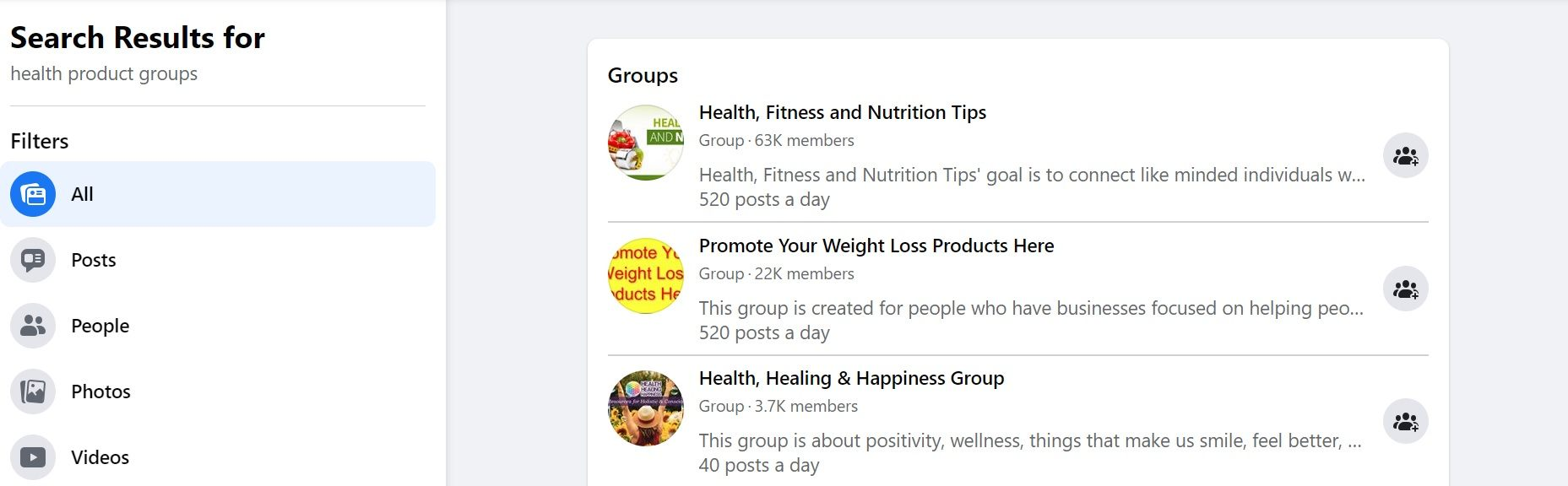 Health Products Groups - Facebook Search