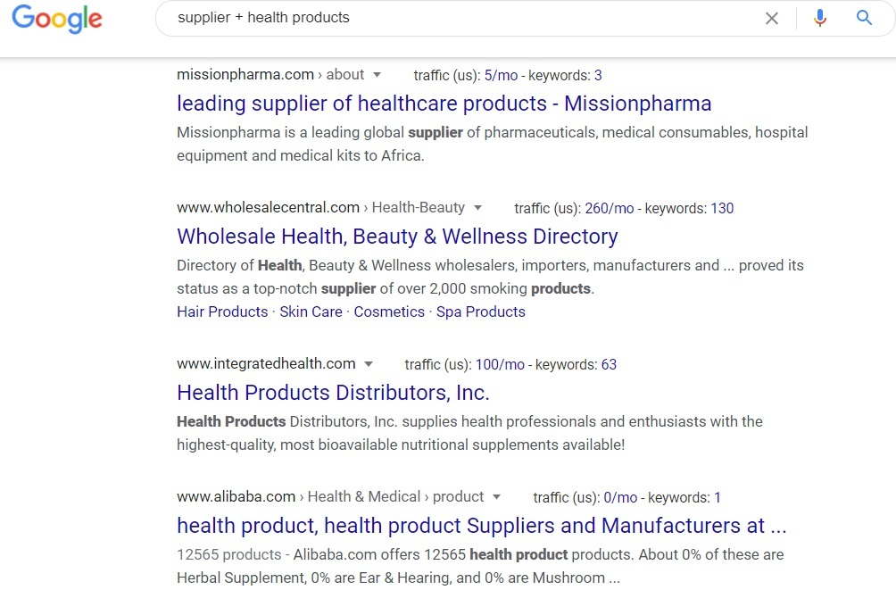 Supplier Health Products - Google Search