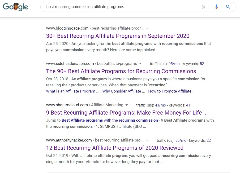 Best Recurring Commission Affiliate Programs - Google Search