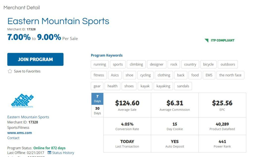 Eastern Mountain Sports Affiliate Program