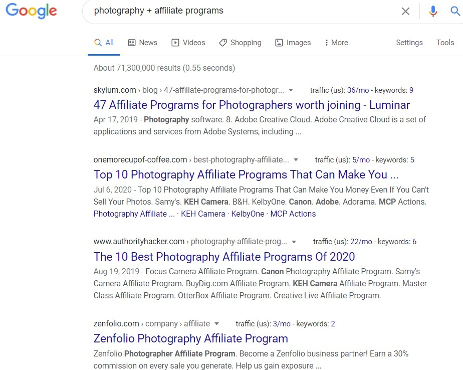 Photography Affiliate Programs - Google Search