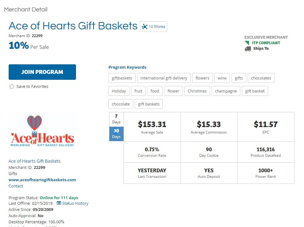 Ace of Hearts Gift Baskets Affiliate Program