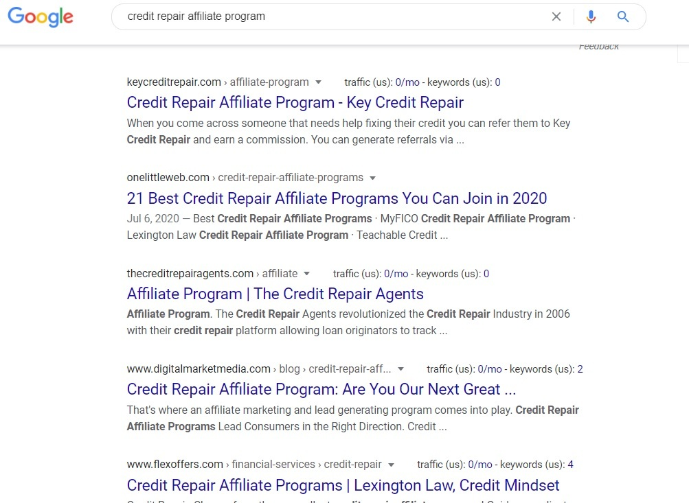 Credit Repair Affiliate Programs - Google Search