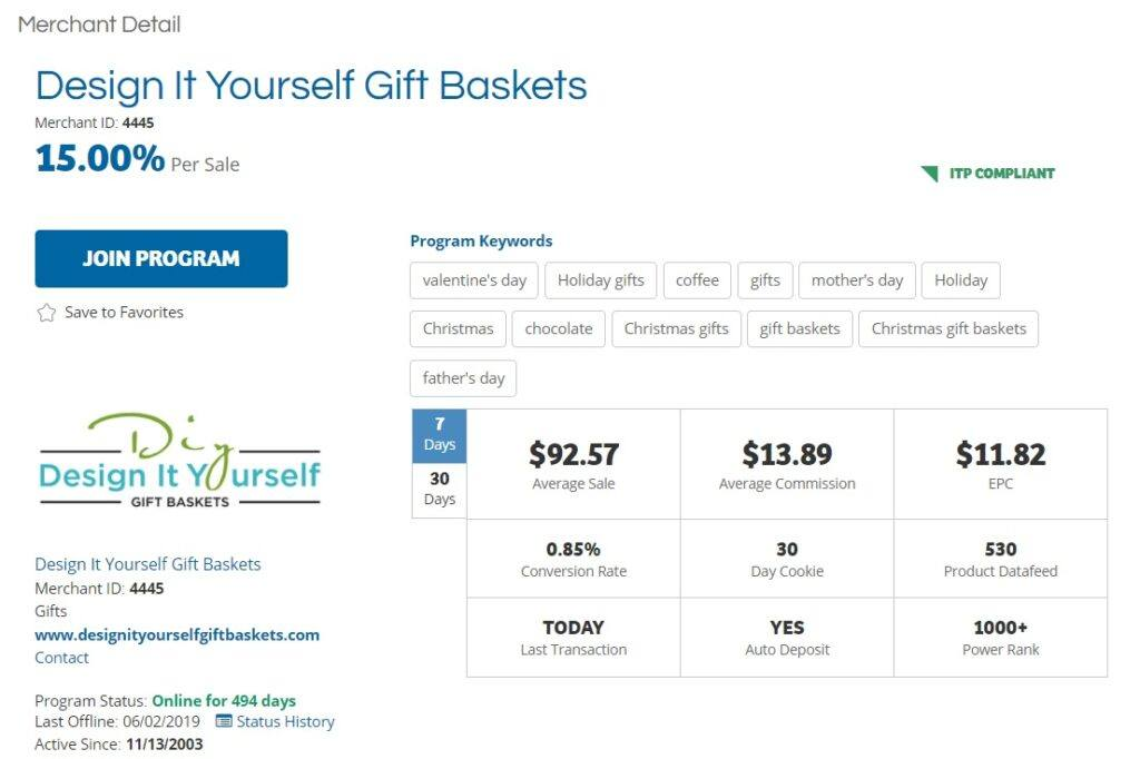Design it Yourself Gift Baskets Affiliate Program