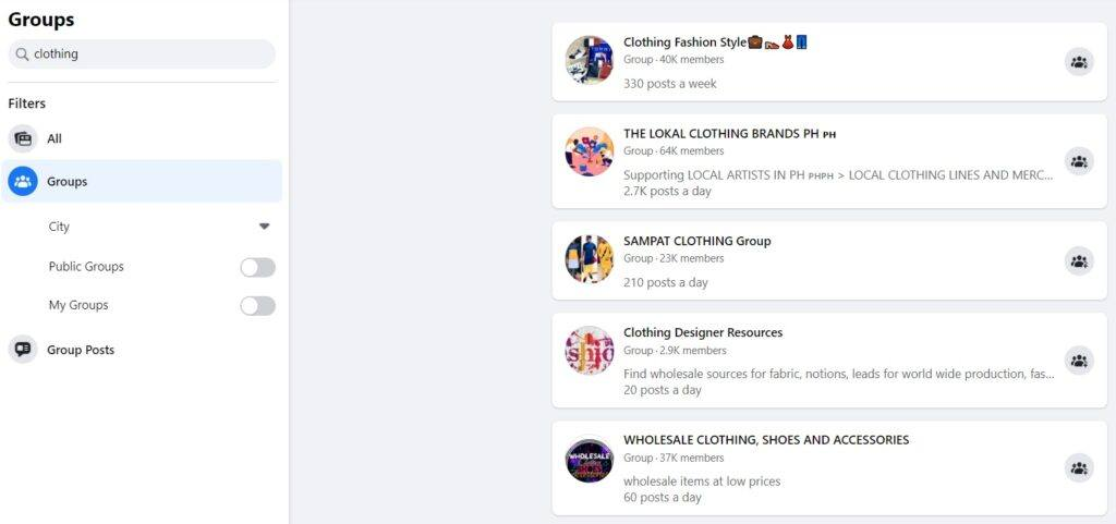 Facebook Clothing Groups