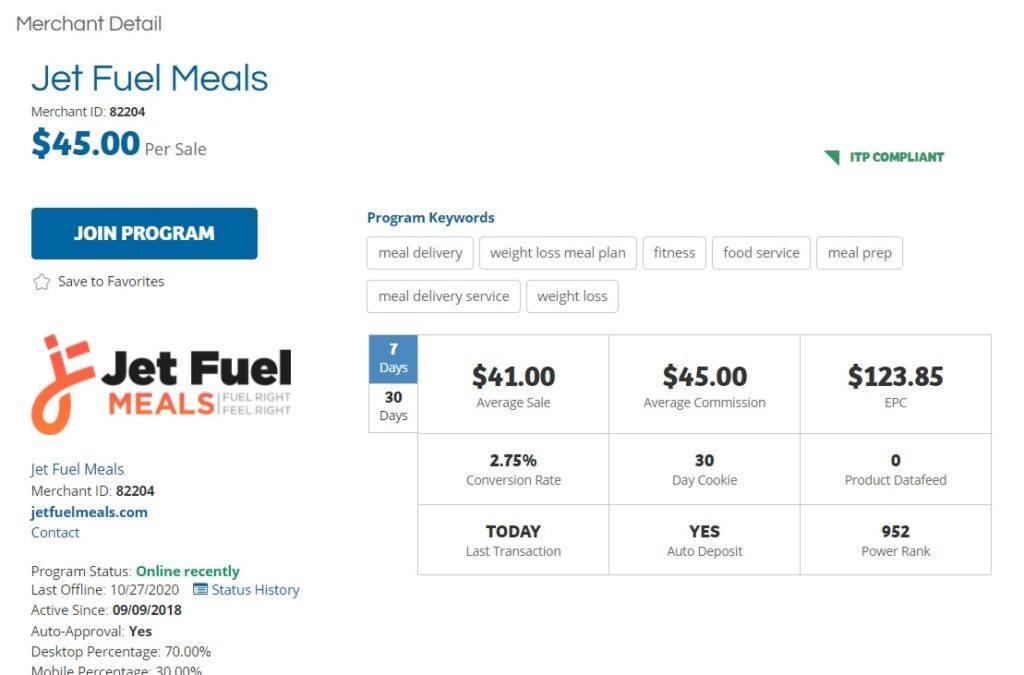 Jet Fuel Meals Affiliate Program
