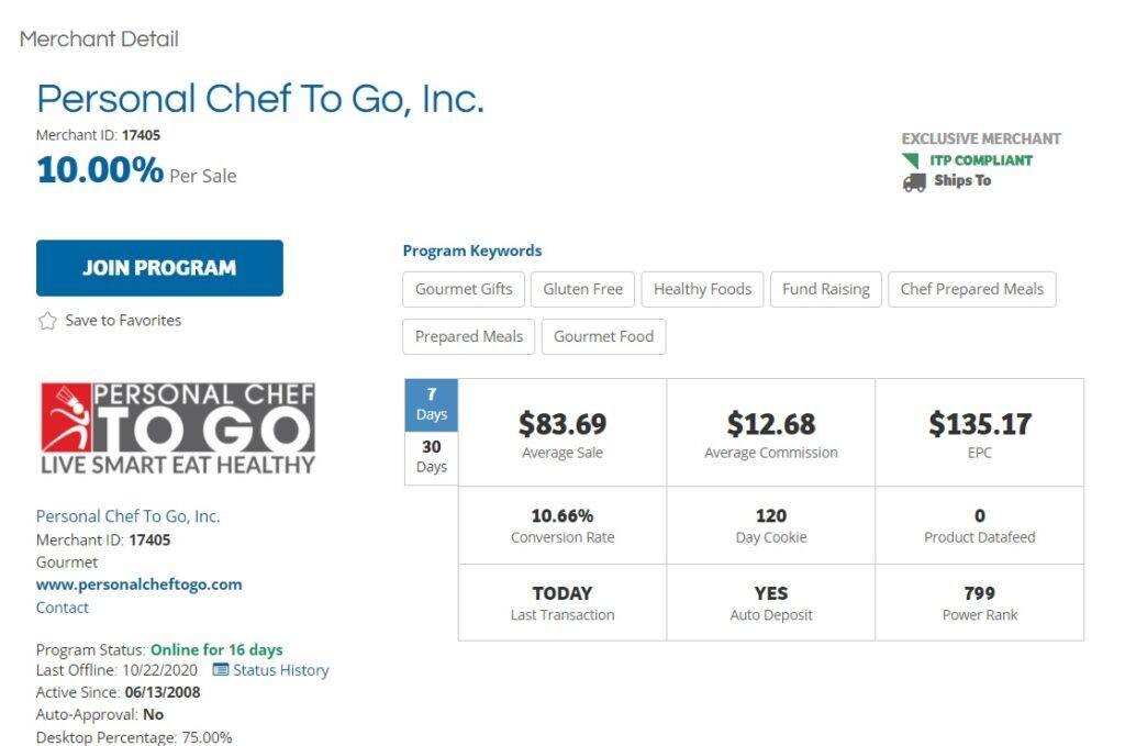 Personal Chef to Go Affiliate Program