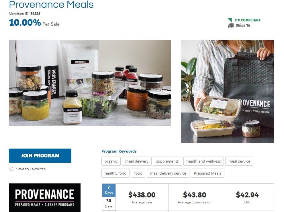 Provenance Meals Affiliate Program