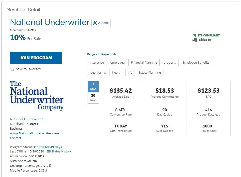 National Underwriter Affiliate Program