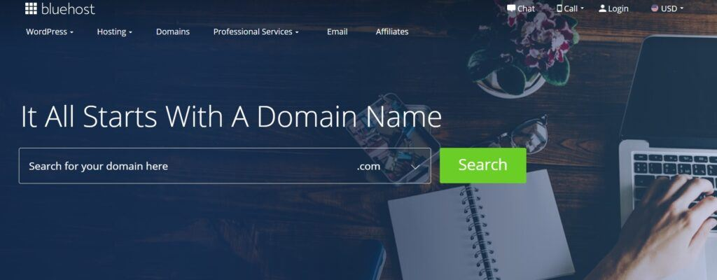 BlueHost Domain Name Search