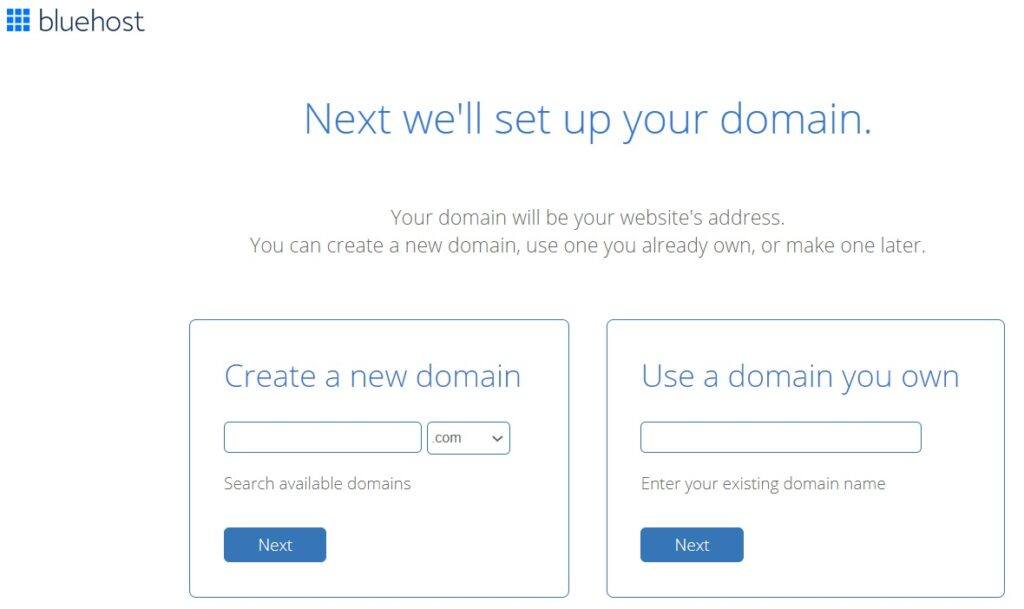 BlueHost Domain Set Up Page
