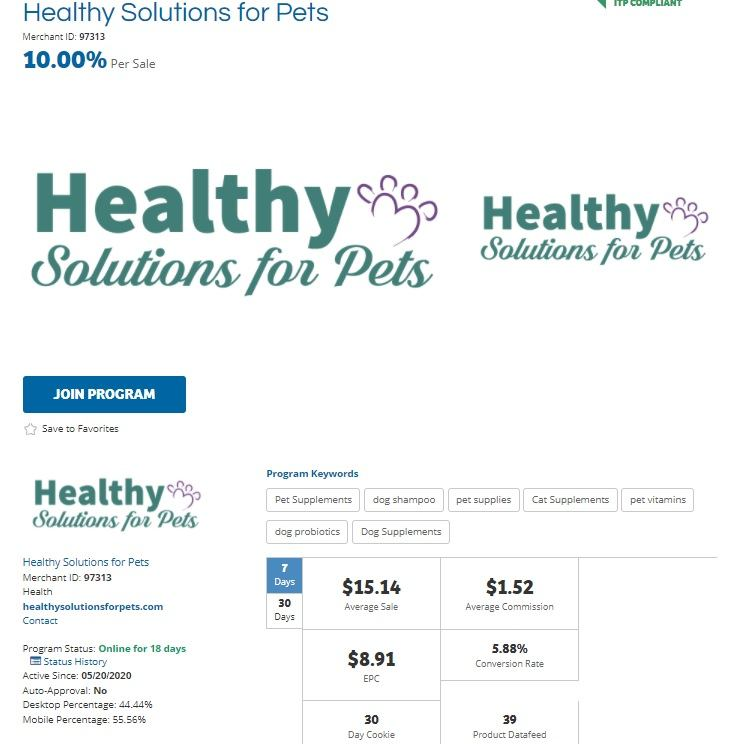 Healthy Solutions for Pets Affiliate Program