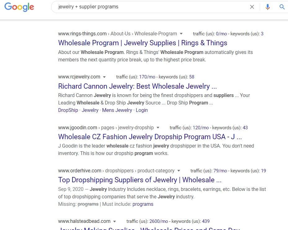 Jewelry + Supplier Programs - Google Search