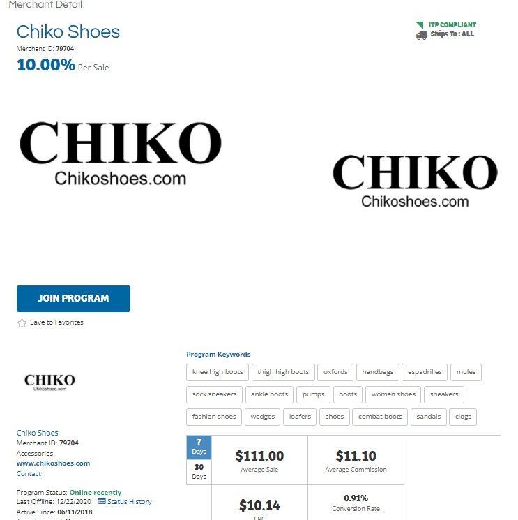 Chiko Shoes Affiliate Program