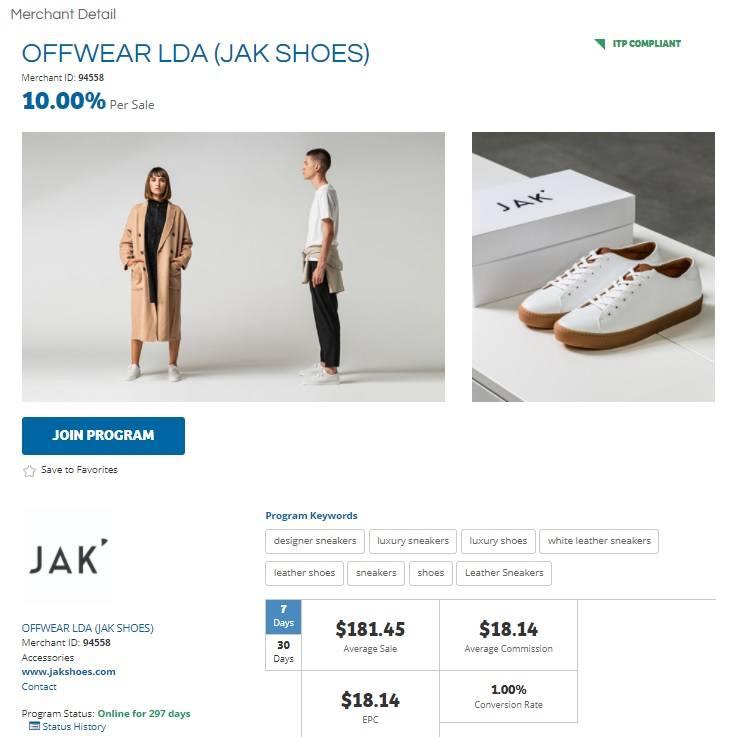 JAK Shoes Affiliate Program