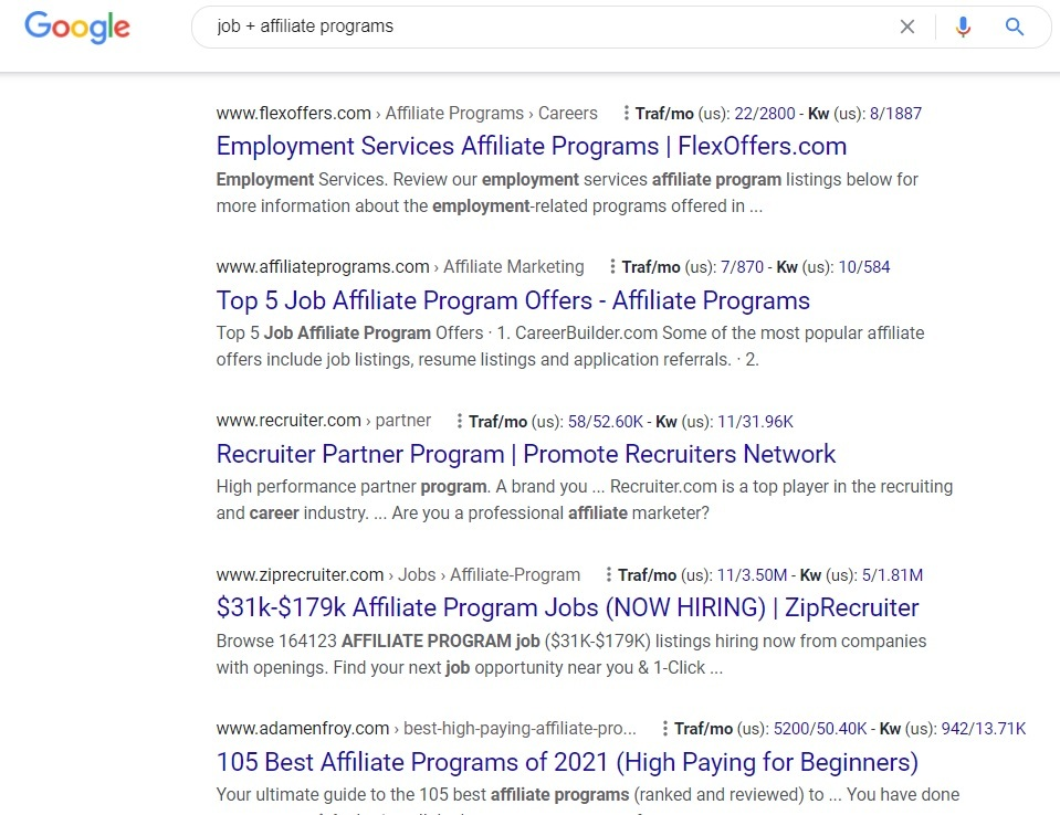 Job Affiliate Programs- Google Search