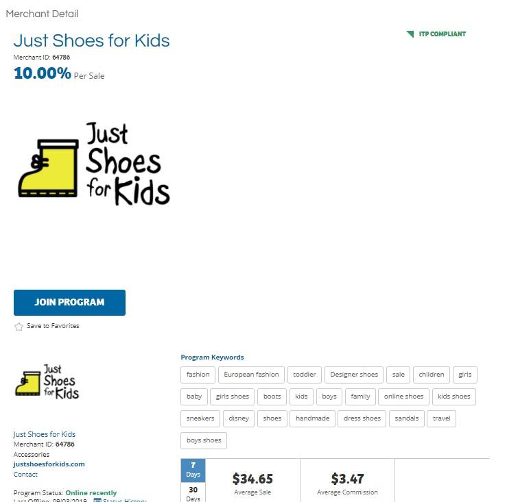 Just Shoes for Kids Affiliate Program