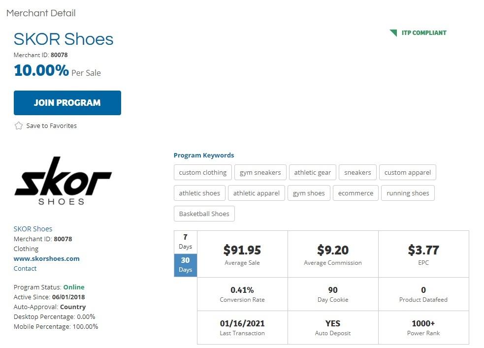SKOR Shoes Affiliate Program