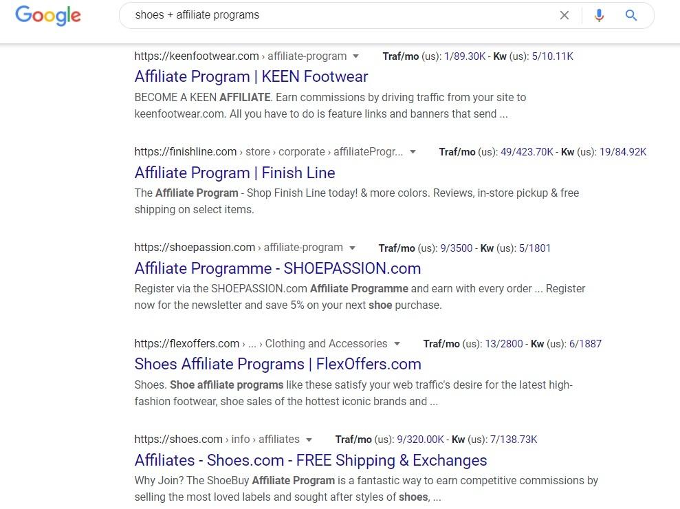 Shoes Affiliate Program - Google Search