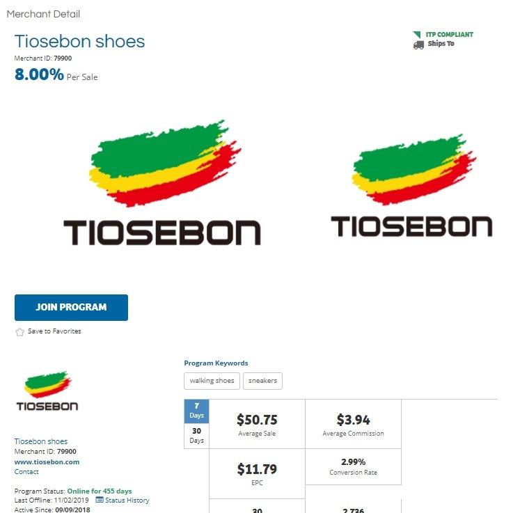 Tiosebon Shoes Affiliate Program