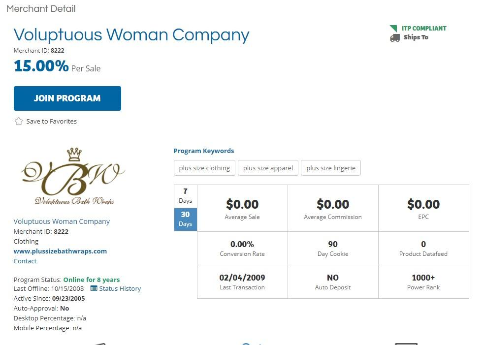 Voluptuous Woman Company Affiliate Program